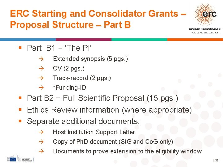 ERC Starting and Consolidator Grants – Proposal Structure – Part B Established by the