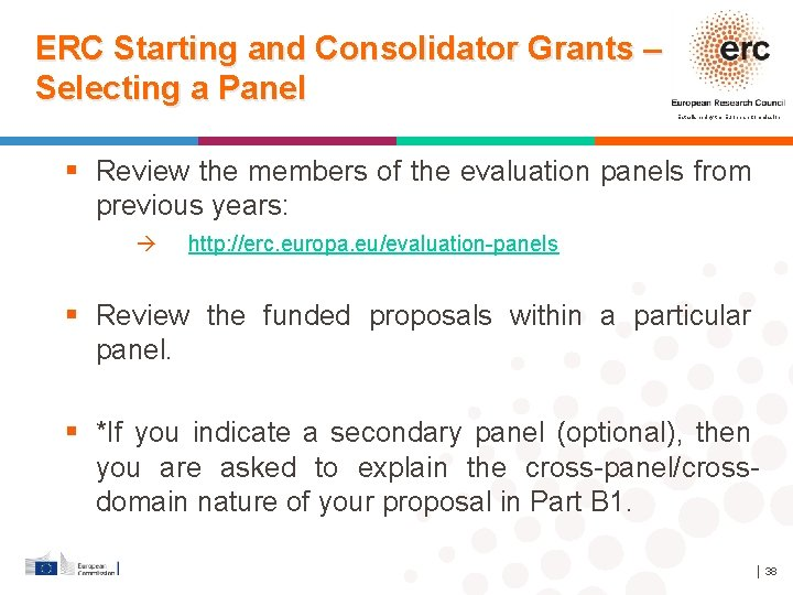 ERC Starting and Consolidator Grants – Selecting a Panel Established by the European Commission