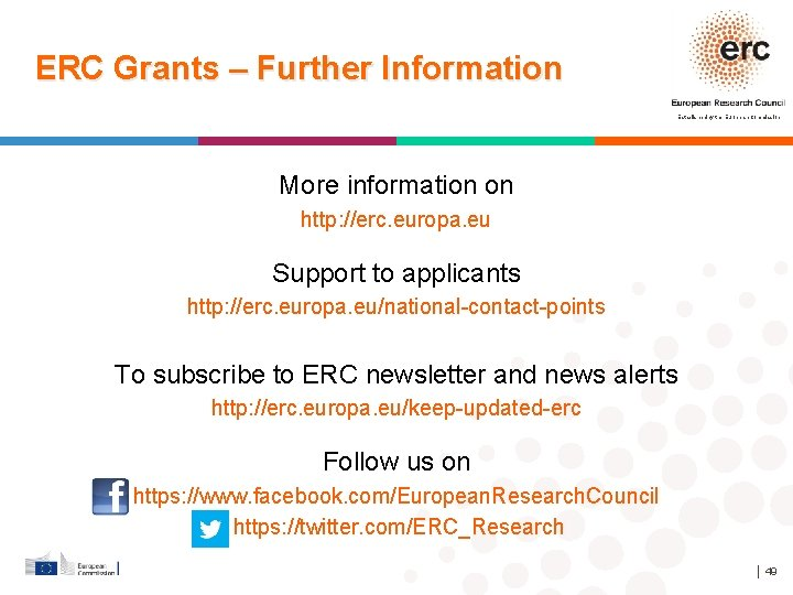 ERC Grants – Further Information Established by the European Commission More information on http: