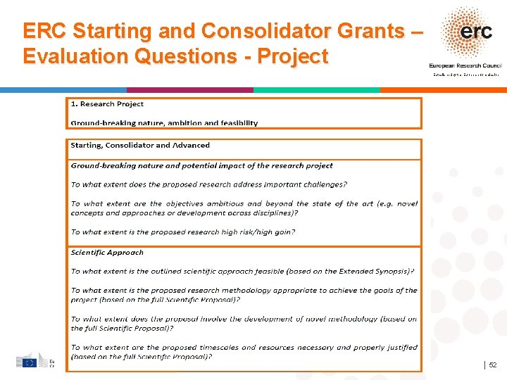 ERC Starting and Consolidator Grants – Evaluation Questions - Project Established by the European