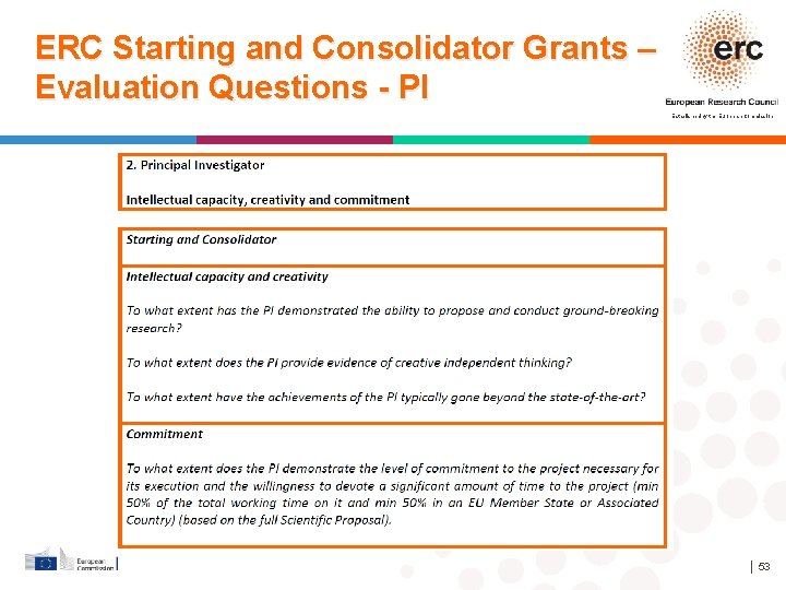 ERC Starting and Consolidator Grants – Evaluation Questions - PI Established by the European