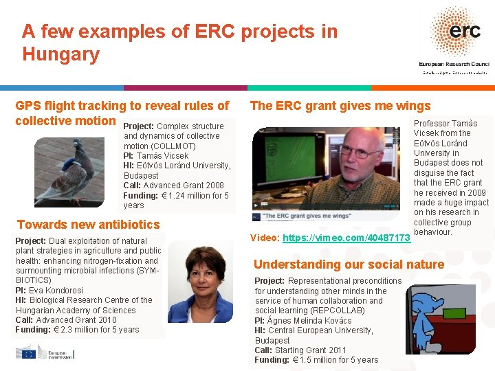 A few examples of ERC projects in Hungary Established by the European Commission GPS