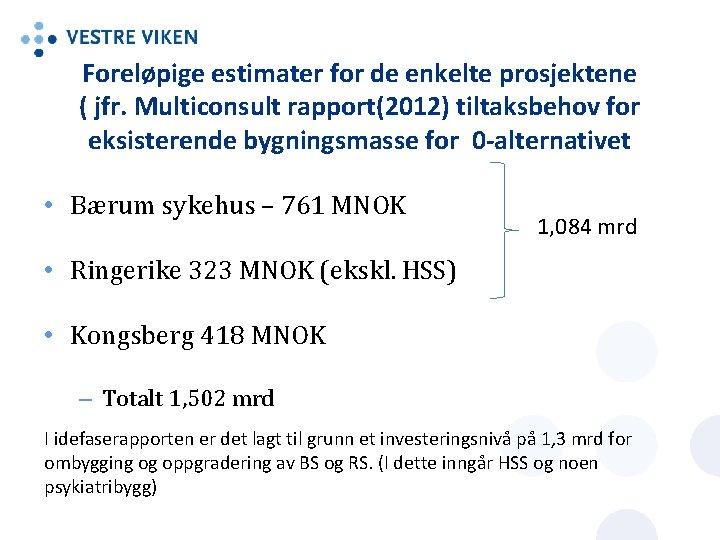 Foreløpige estimater for de enkelte prosjektene ( jfr. Multiconsult rapport(2012) tiltaksbehov for eksisterende bygningsmasse