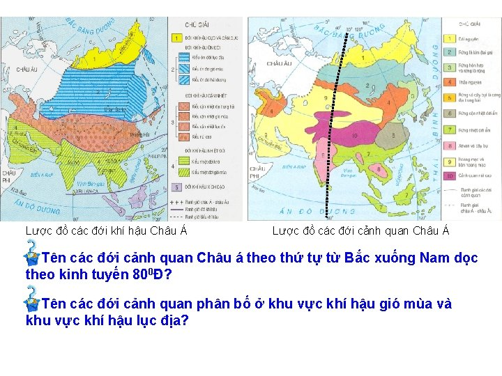 Lược đồ các đới khí hậu Châu Á Lược đồ các đới cảnh quan
