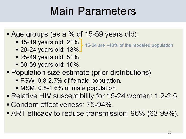 Main Parameters § Age groups (as a % of 15 -59 years old): §
