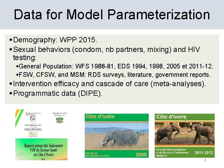 Data for Model Parameterization § Demography: WPP 2015. § Sexual behaviors (condom, nb partners,