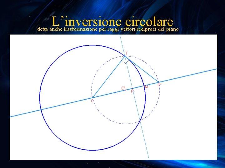 L'inversione circolare detta anche trasformazione per raggi vettori reciproci del piano