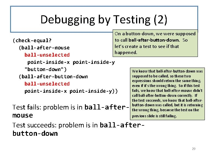 Debugging by Testing (2) On a button-down, we were supposed to call ball-after-button-down. So
