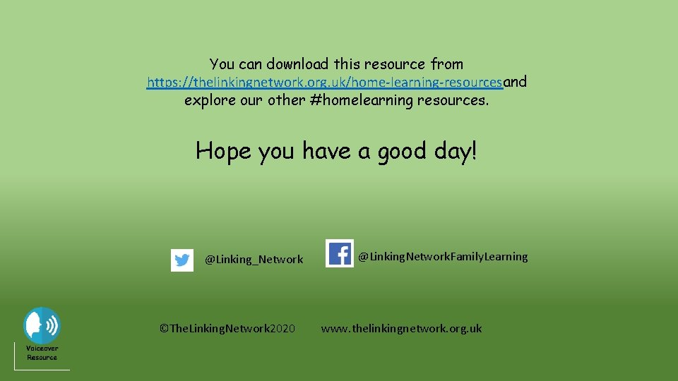 You can download this resource from https: //thelinkingnetwork. org. uk/home-learning-resourcesand explore our other #homelearning
