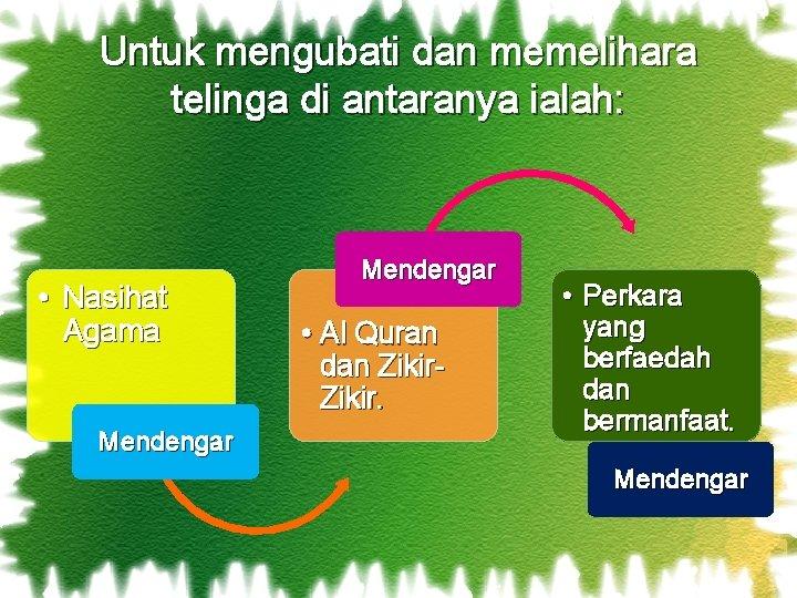 Untuk mengubati dan memelihara telinga di antaranya ialah: • Nasihat Agama Mendengar • Al