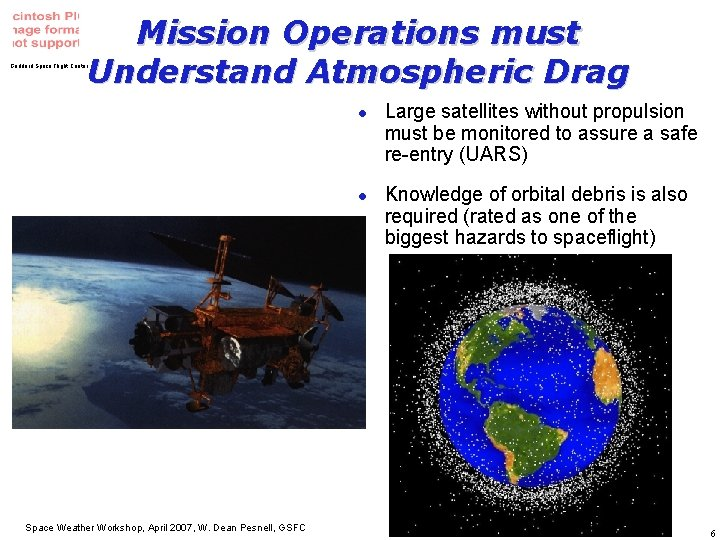 Mission Operations must Understand Atmospheric Drag Goddard Space Flight Center l l Space Weather