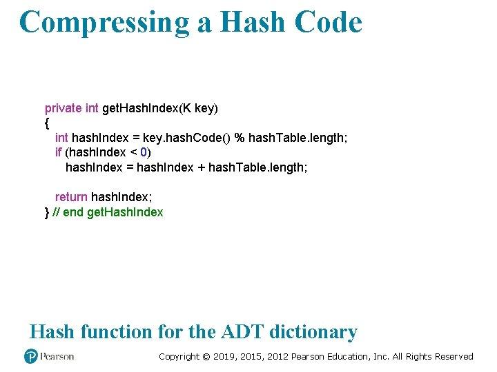 Compressing a Hash Code private int get. Hash. Index(K key) { int hash. Index