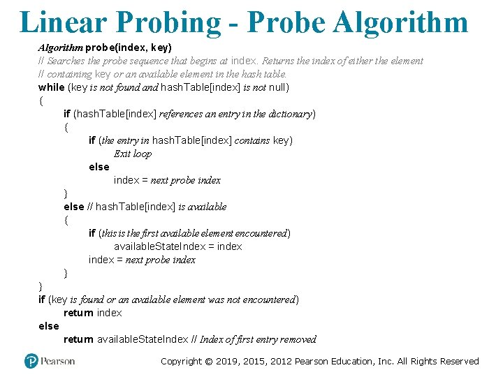 Linear Probing - Probe Algorithm probe(index, key) // Searches the probe sequence that begins