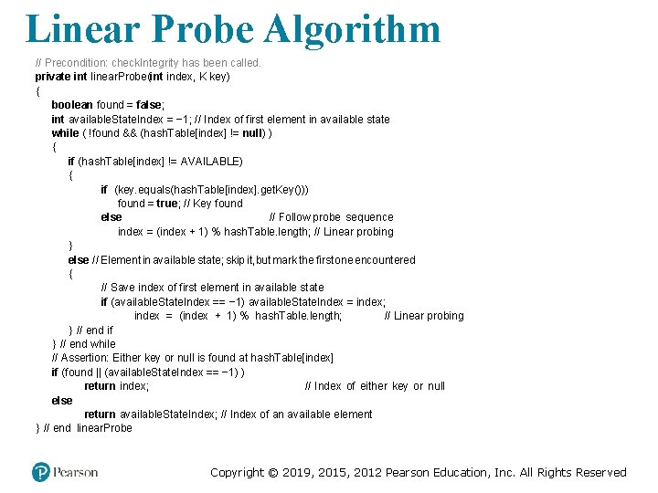 Linear Probe Algorithm // Precondition: check. Integrity has been called. private int linear. Probe(int