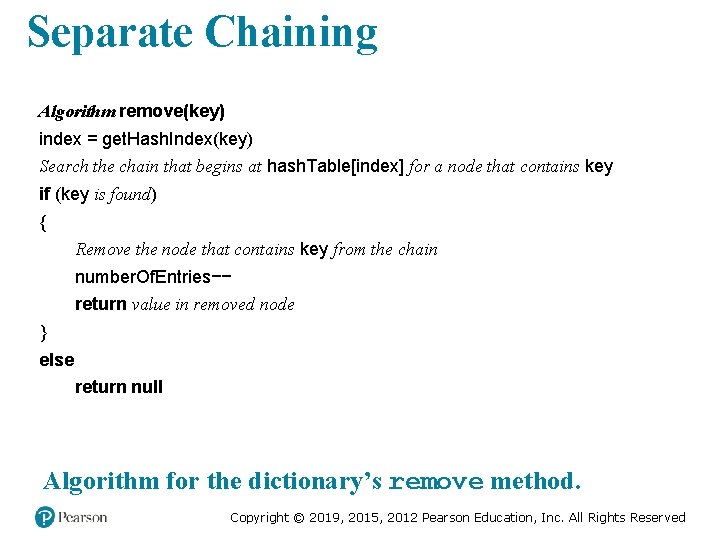 Separate Chaining Algorithm remove(key) index = get. Hash. Index(key) Search the chain that begins
