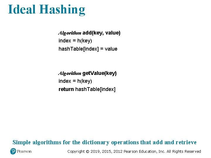 Ideal Hashing Algorithm add(key, value) index = h(key) hash. Table[index] = value Algorithm get.