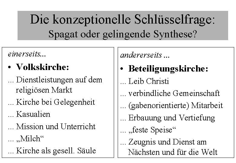 Die konzeptionelle Schlüsselfrage: Spagat oder gelingende Synthese? einerseits. . . andererseits. . . •