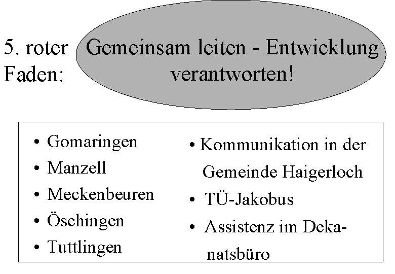 5. roter Gemeinsam leiten - Entwicklung verantworten! Faden: • • • Gomaringen Manzell Meckenbeuren