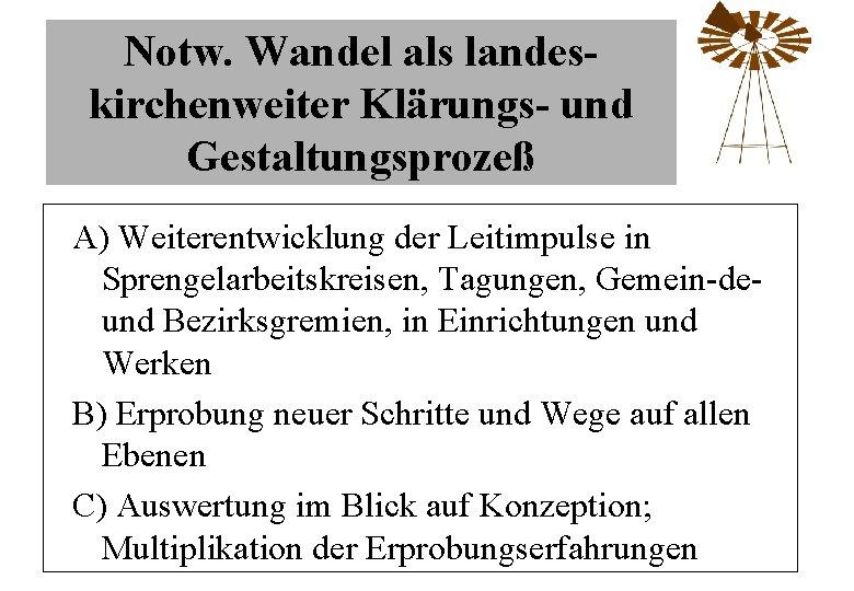 Notw. Wandel als landeskirchenweiter Klärungs- und Gestaltungsprozeß A) Weiterentwicklung der Leitimpulse in Sprengelarbeitskreisen, Tagungen,