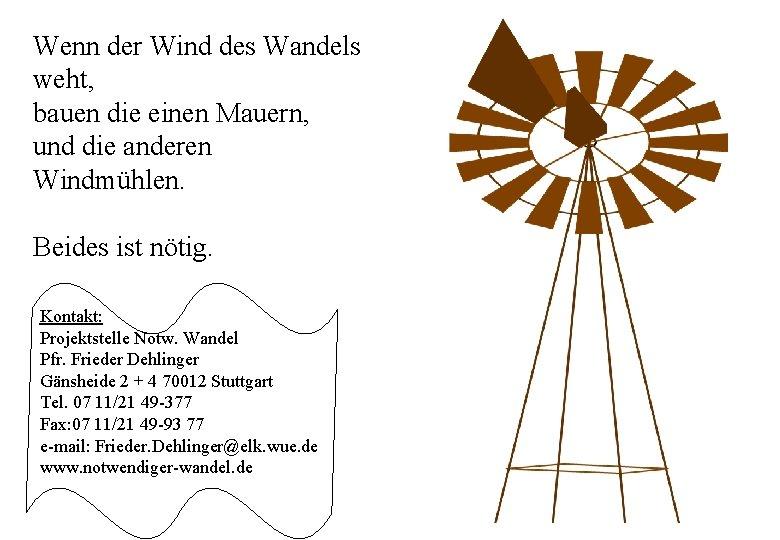 Wenn der Wind des Wandels weht, bauen die einen Mauern, und die anderen Windmühlen.