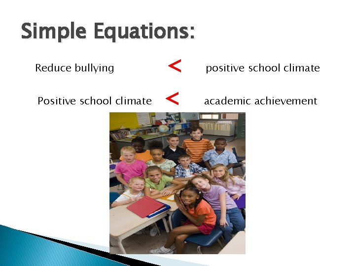 Simple Equations: Reduce bullying < positive school climate Positive school climate < academic achievement