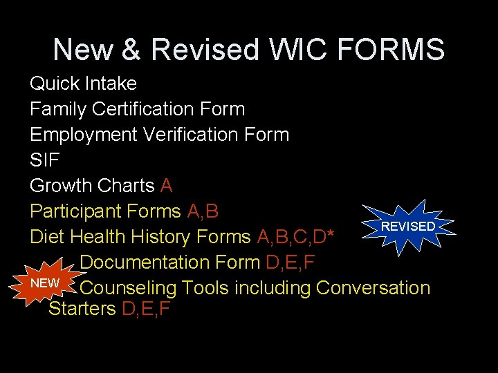 New & Revised WIC FORMS Quick Intake Family Certification Form Employment Verification Form SIF