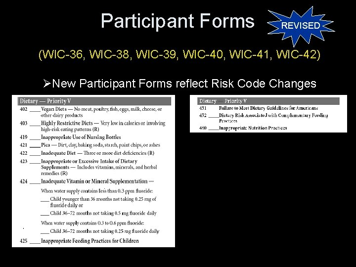 Participant Forms REVISED (WIC-36, WIC-38, WIC-39, WIC-40, WIC-41, WIC-42) ØNew Participant Forms reflect Risk