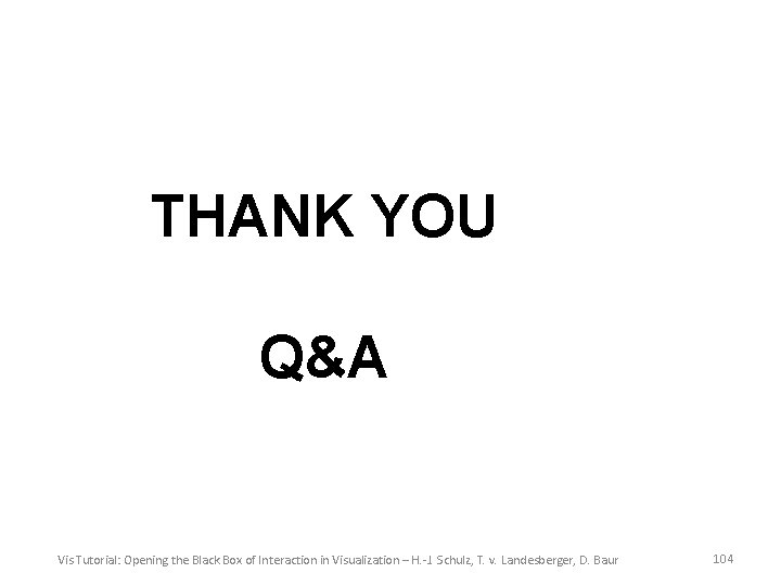 THANK YOU Q&A Vis Tutorial: Opening the Black Box of Interaction in Visualization –