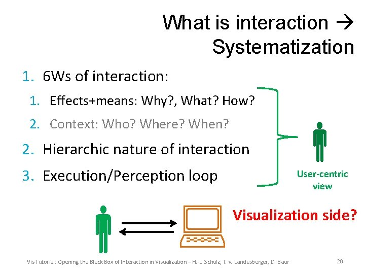 What is interaction Systematization 1. 6 Ws of interaction: 1. Effects+means: Why? , What?