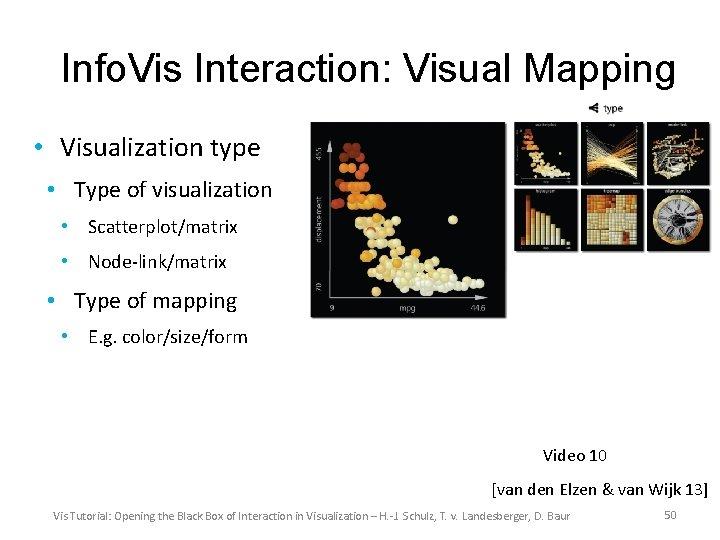 Info. Vis Interaction: Visual Mapping • Visualization type • Type of visualization • Scatterplot/matrix