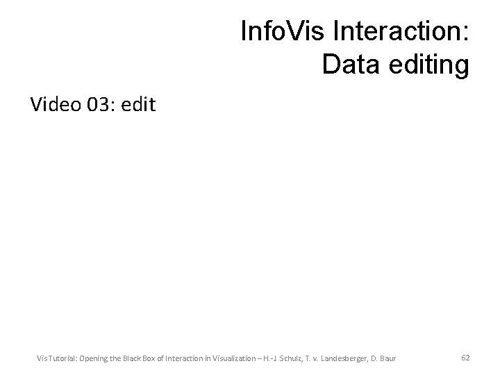 Info. Vis Interaction: Data editing Video 03: edit Vis Tutorial: Opening the Black Box
