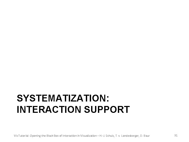 SYSTEMATIZATION: INTERACTION SUPPORT Vis Tutorial: Opening the Black Box of Interaction in Visualization –