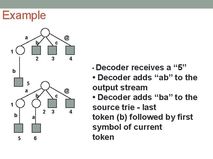 Example a b c @ 1 2 3 4 • Decoder b 5 a