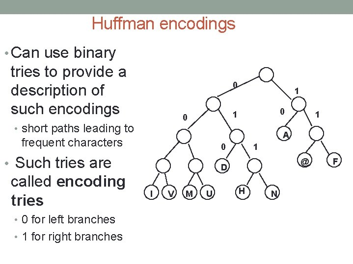 Huffman encodings • Can use binary tries to provide a description of such encodings
