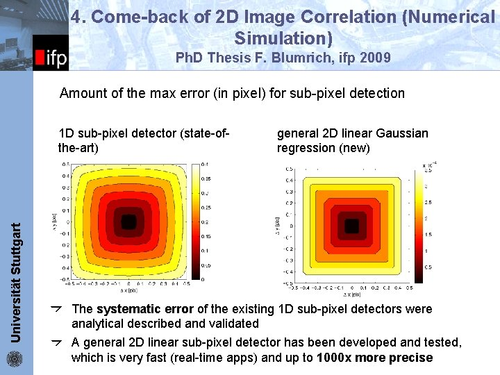 ifp 4. Come-back of 2 D Image Correlation (Numerical Simulation) Ph. D Thesis F.