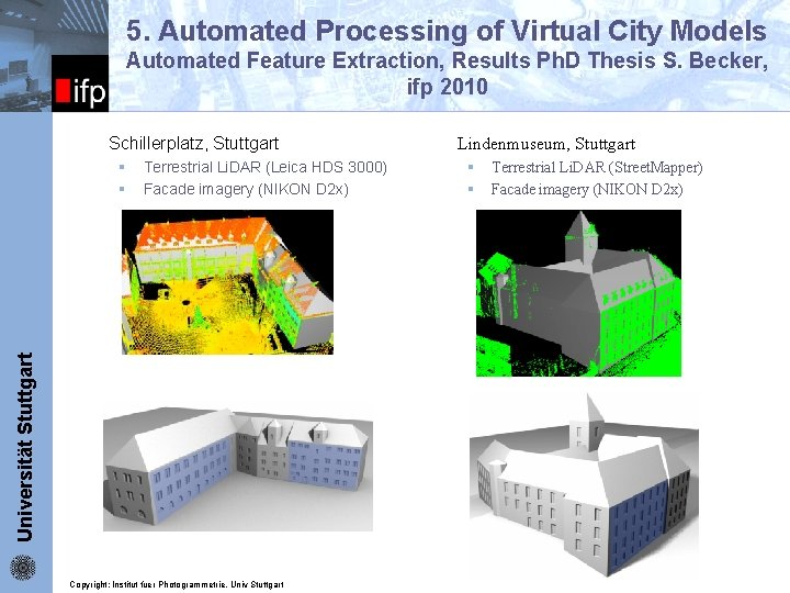 5. Automated Processing of Virtual City Models Automated Feature Extraction, Results Ph. D Thesis