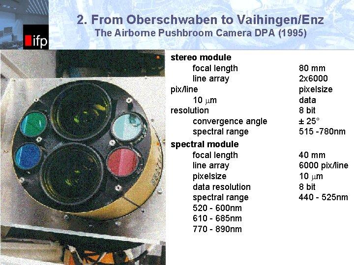 2. From Oberschwaben to Vaihingen/Enz ifp The Airborne Pushbroom Camera DPA (1995) § Universität