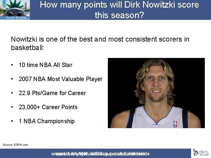 How many points will Dirk Nowitzki score this season? Nowitzki is one of the