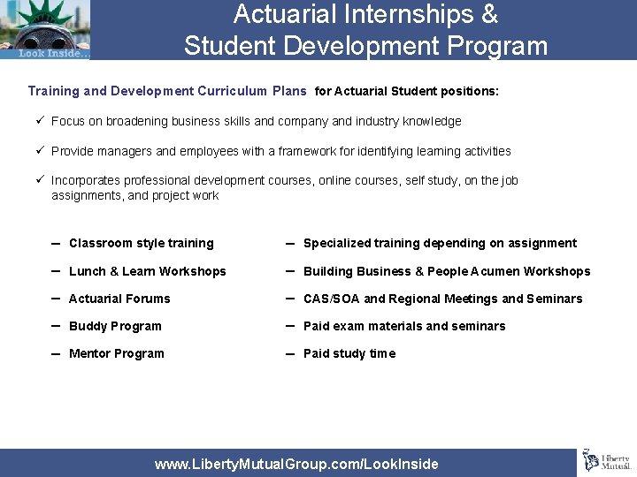 Actuarial Internships & Student Development Program Training and Development Curriculum Plans for Actuarial Student