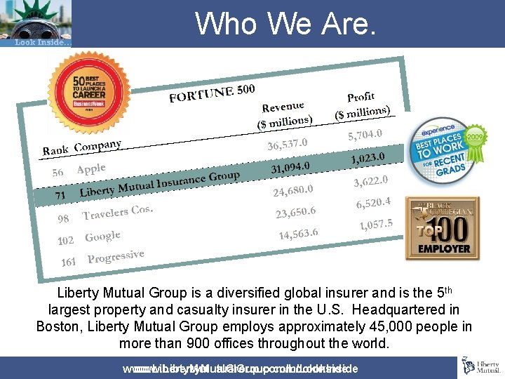 Who We Are. Liberty Mutual Group is a diversified global insurer and is the