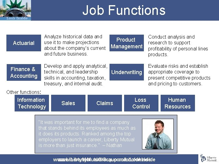 Job Functions Actuarial Analyze historical data and Product use it to make projections about