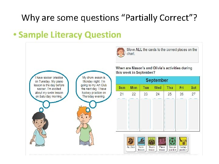 """Why are some questions """"Partially Correct""""? • Sample Literacy Question"""