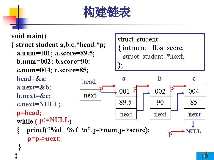 构建链表 void main() struct student { struct student a, b, c, *head, *p; {