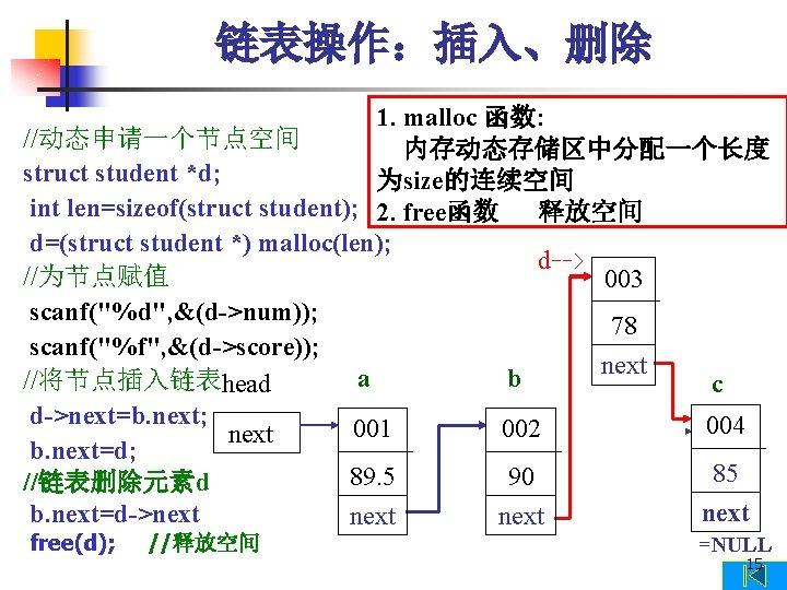 链表操作:插入、删除 1. malloc 函数: //动态申请一个节点空间 内存动态存储区中分配一个长度 struct student *d; 为size的连续空间 int len=sizeof(struct student); 2.