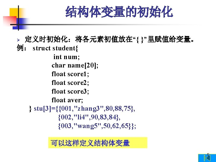 """结构体变量的初始化 定义时初始化:将各元素初值放在""""{ }""""里赋值给变量。 例: struct student{ int num; char name[20]; float score 1; float"""