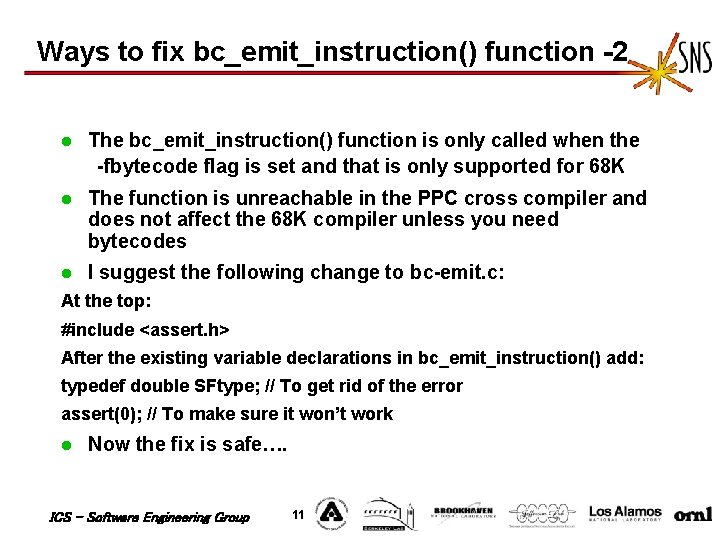 Ways to fix bc_emit_instruction() function -2 l The bc_emit_instruction() function is only called when