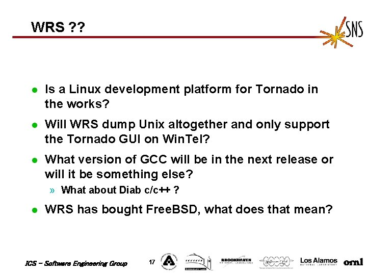 WRS ? ? l Is a Linux development platform for Tornado in the works?