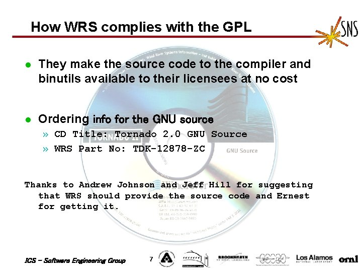 How WRS complies with the GPL l They make the source code to the