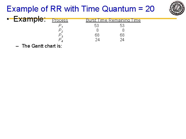 Example of RR with Time Quantum = 20 • Example: Process Burst Time Remaining