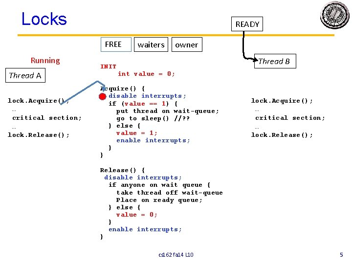 Locks READY FREE Running Thread A lock. Acquire(); … critical section; … lock. Release();